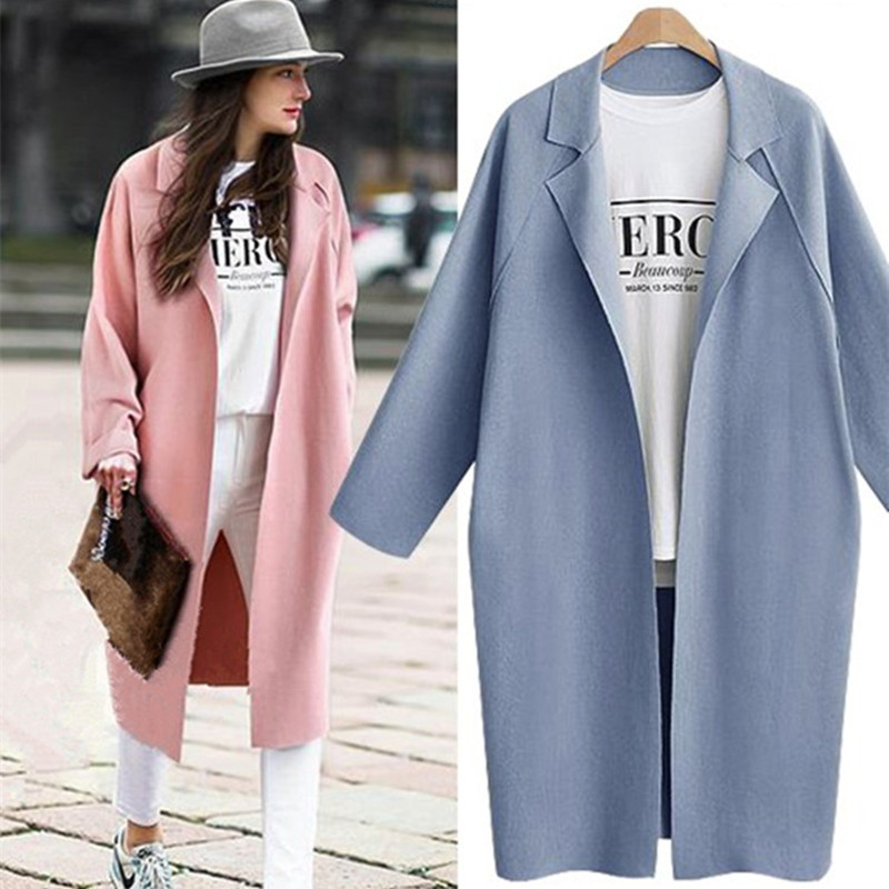 New Spring Autumn Women   Trench   Plus Size Fashion Simple Loose Turn-Down Collar Solid Long   Trench   Coat For Women Large Outerwear