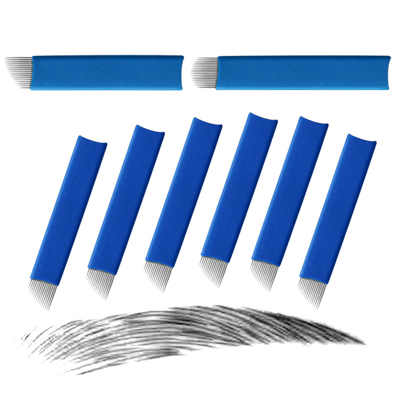 100 PCS blue Permanent Makeup Manual Eyebrow Tattoo Needles Blade For 3D Embroidery Microblading Tattoo Pen Machine