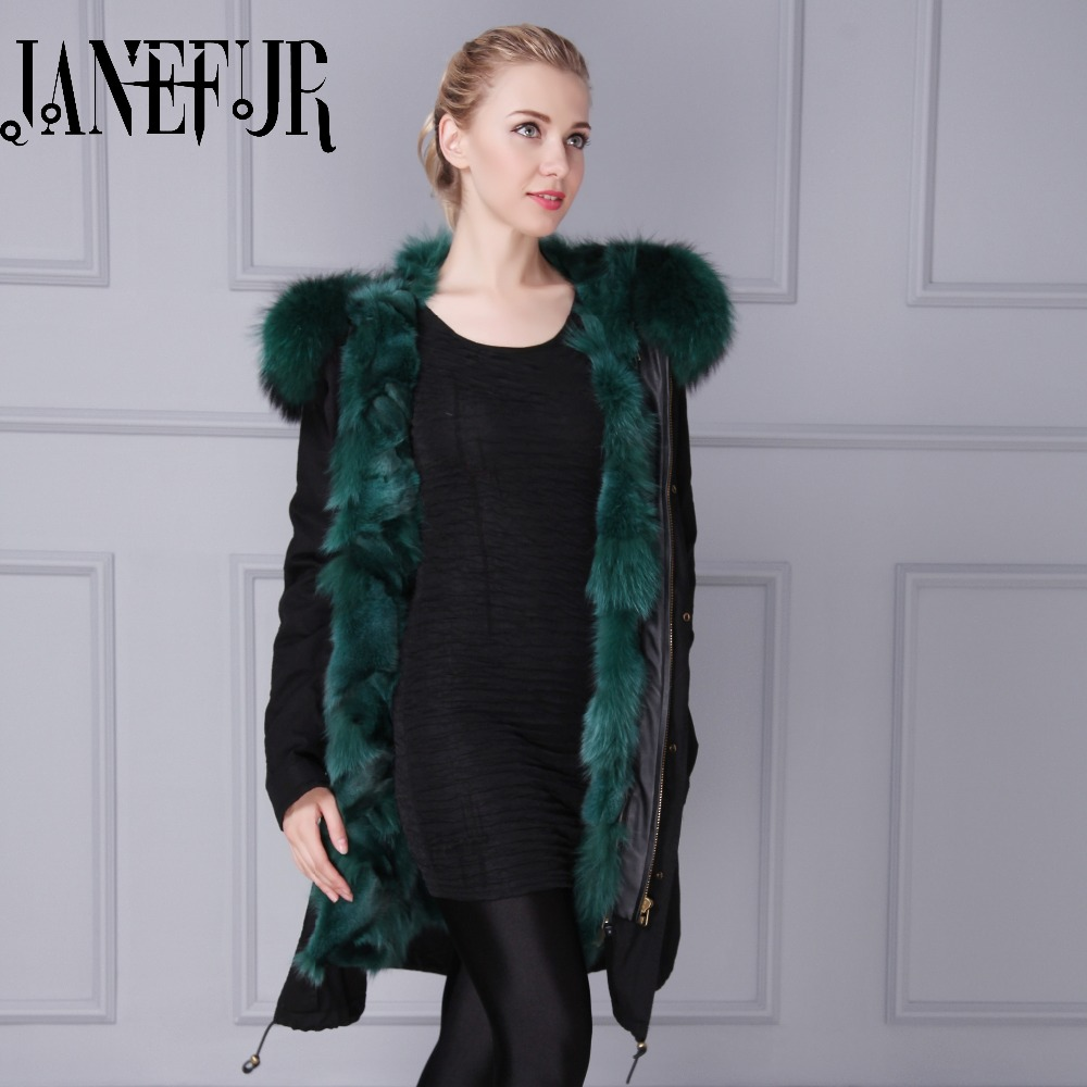 Dark green real fox fur lining inside Italy brand jacket women fashion style factory price raccoon fur collar parka куртка turbokolor ewald plus jacket fw13 dark green l