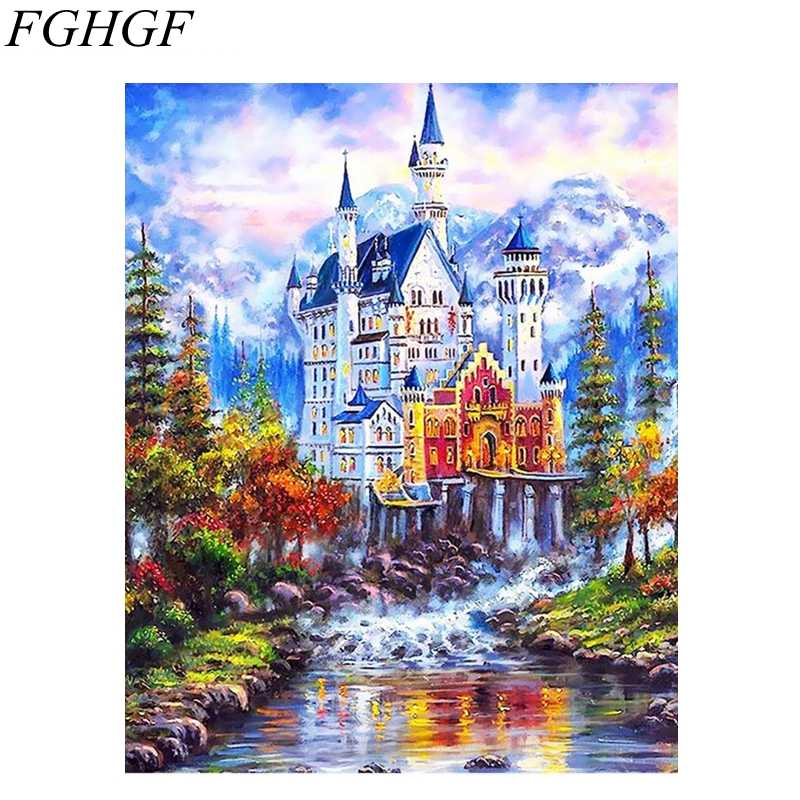 FGHGF Acrylic Picture Diy Digital Oil Painting By Numbers Landscape Abstract Modern Home Wall Art Decor For Living Room