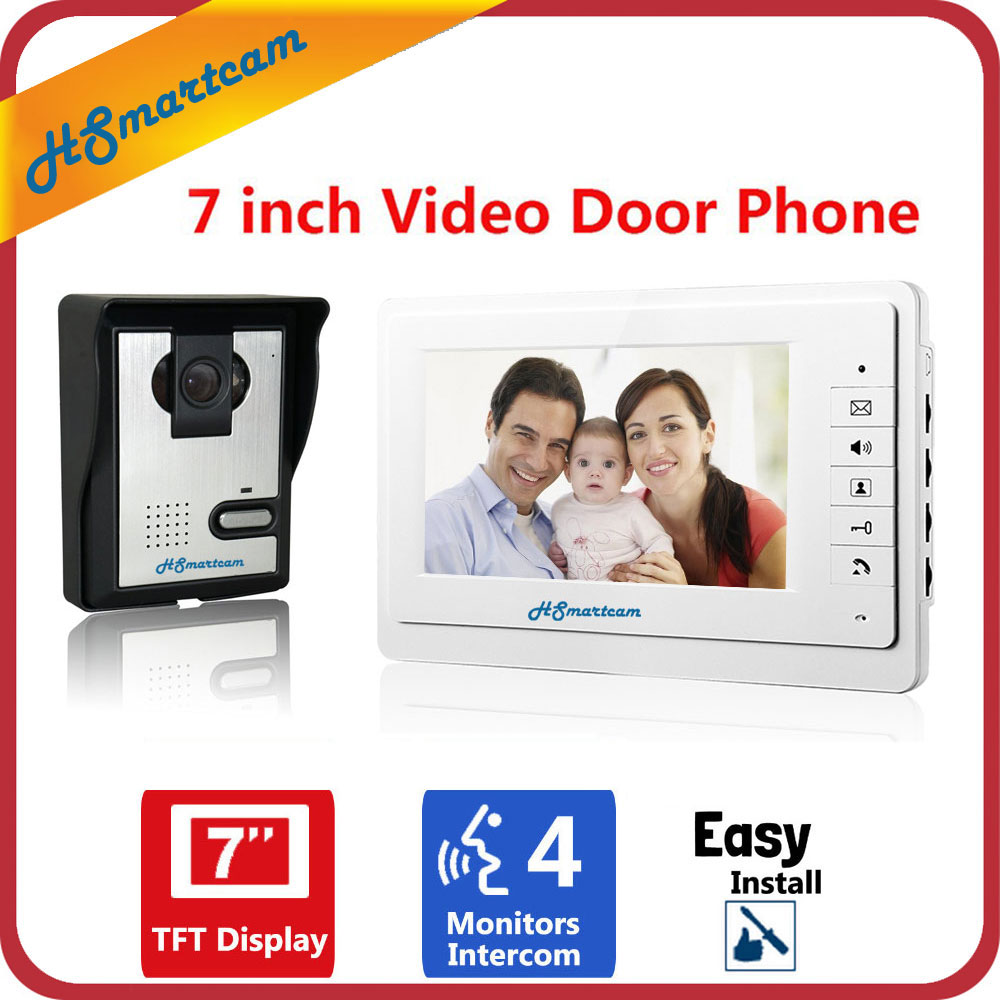 Home 7 inch TFT LCD Monitor HD Video Door Phone Visual Video Speakerphone Intercom System Waterproof Rain Cover 700TVL IR Camera homefong 7 tft lcd hd door bell with camera home security monitor wire video door phone doorbell intercom system 1200 tvl