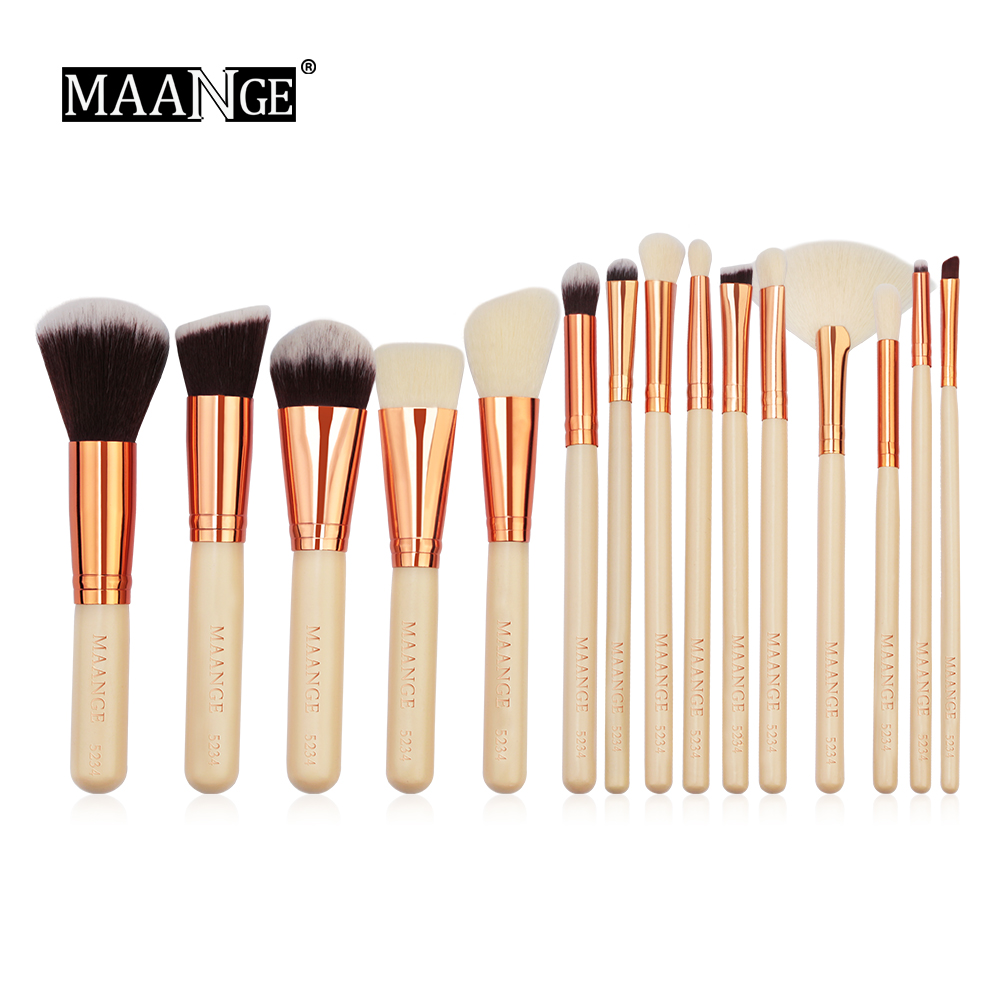 MAANGE Pro 15Pcs Luxury Complete Cosmetic Makeup Brushes Set Beauty Make Up Tools Kit Powder Blending Shadow Contour Brush Kits lades 7pcs makeup brushes set diamond rainbow handle cosmetic foundation blusher powder blending brush beauty tools kits mb030a
