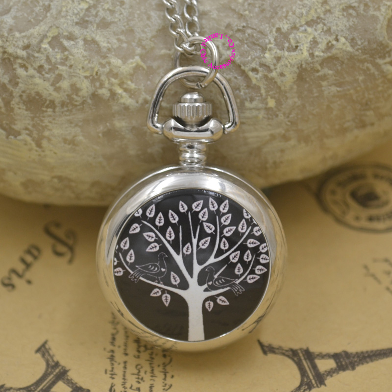 New Silver Classic Fashion Girl Enamel Pocket Watch Necklace Fob Watches Woman Black Tree Bird With Chain Wholesale Antibrittle