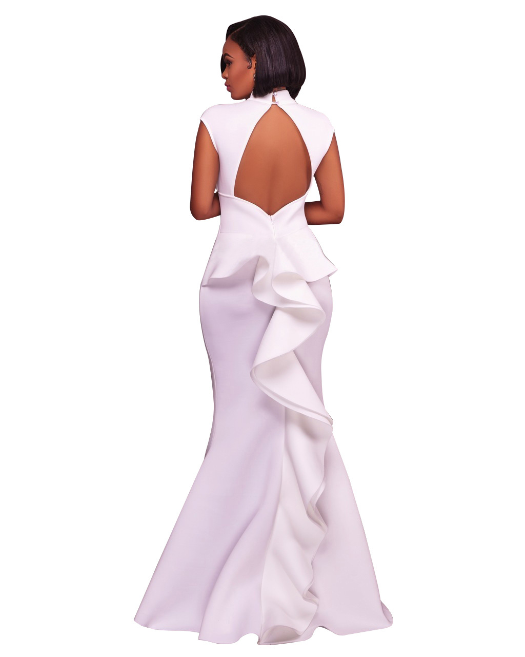 2017 Women Summer Fashion White High Neck Sexy Dress Party Mermaid Dresses Ruffles Hollow Out Backless Maxi Dress