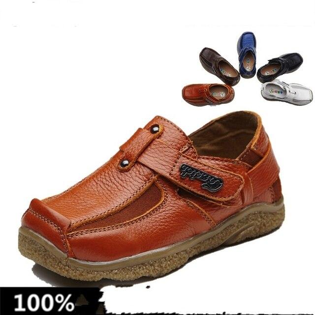Горячая распродажа мода реальные кожаные сандалии горох обувь высокое качество нижней части оксфорда chaussure enfant патентные обувь