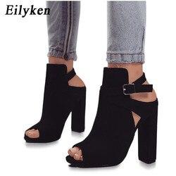e8cbf577b Eilyken النساء الصنادل المصارع عالية الكعب حزام مضخات مشبك حذاء بسيور أزياء  الصيف أحذية السيدات الأسود