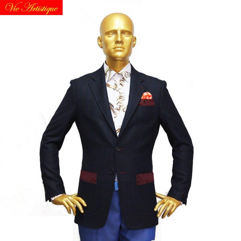 Custom Tailor Made Men's Bespoke Suits Business Formal Wedding Ware 2 Pieces Jacket Coat Pant Navy Plaid Fine Heavy Tweed Wool