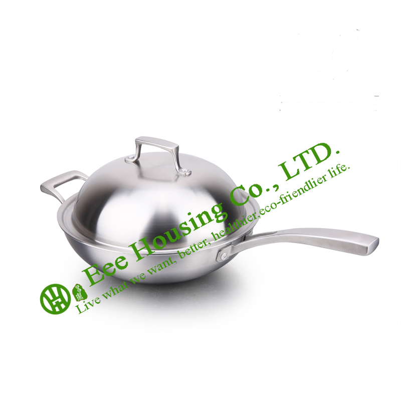 Stainless Steel Wok,kitchenware Cookware,Free Shipping Factory Price,non-smoking Non-stick Fry Pan With Lid Kitchen