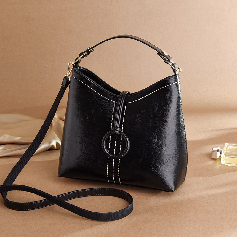 Black Leather Bucket Bag Ladies Hand Bag Female Shoulder Crossbody Bags For Women Sac Seau Noir Designer Handbag