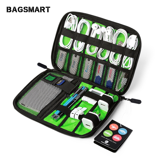 Bagsmart 전자 액세서리 전화 충전기에 대 한 포장 가방 날짜 케이블 sd 카드 usb 여행 가방에 넣어 구성