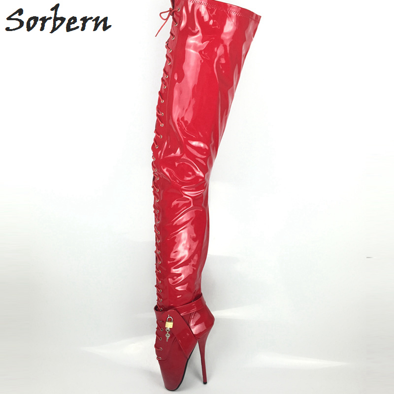 Sorbern Sexy Red Shiny SM Ballet High Heels 18cm Over The Knee Boots Women Gothic Night Club Sexy Fetish High Heel Shoes возбуждающее средство night thoughts sm