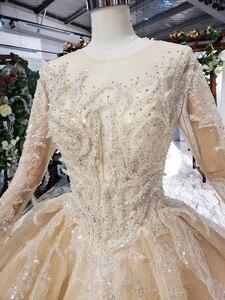 Image 5 - HTL628 robes de mariée de luxe à manches longues o cou lourd handmake perle robes de mariée 2019 trou de serrure retour vestido de novia con manga