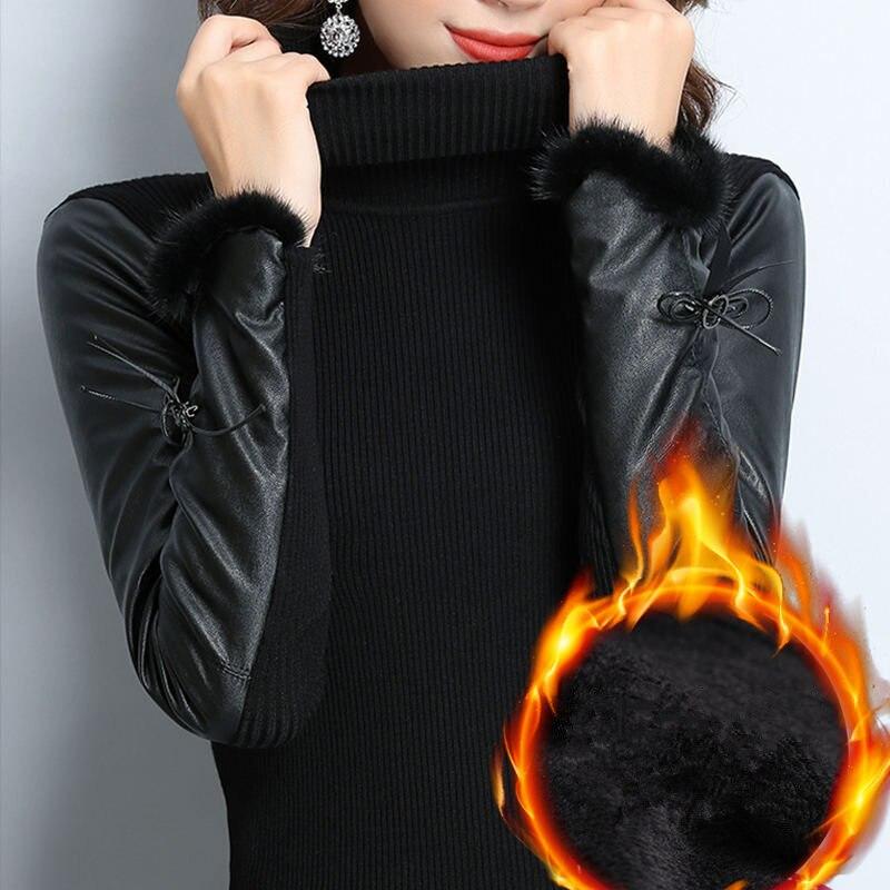 Col roulé chaud hiver pull pull femmes à manches longues PU cuir Patchwork élastique pull tricoté pulls dames hauts Z49