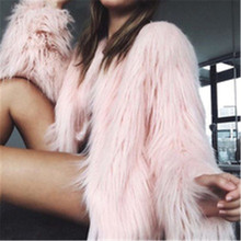 2018 New Furry Fur Coat Women Fluffy Warm Long Sleeve Female Outerwear Autumn Winter Coat Jacket Hairy Collarless Overcoat D395