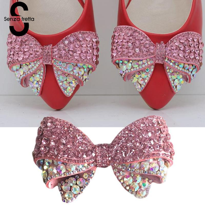 Senza Fretta 1PC Rhinestones Crystal Decorations Women Shoes Clips DIY Shoe Charms Jewelry Bowknot Shoes Decorative Accessories