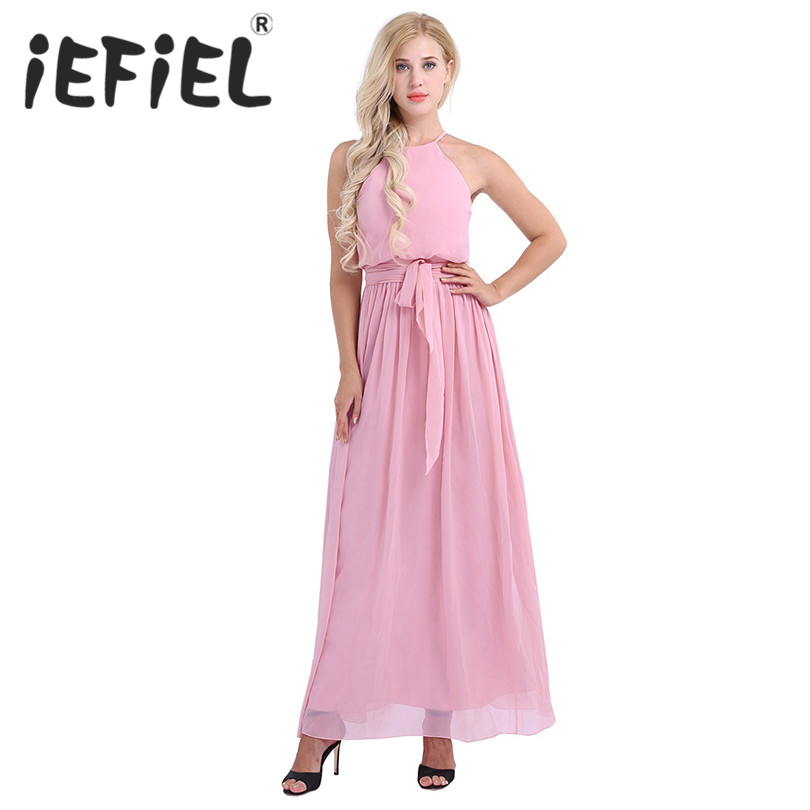 iEFiEL Elegant Women Ladie Sleeveless Halter Neck Chiffon Bridesmaid Party Tulle Dress Female Maxi Formal Occasion Summer Dress