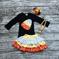 Ropa de las muchachas de halloween boutique trajes de los bebés dulces de maíz superior con faldas niñas ropa de fiesta de Halloween con accesorios