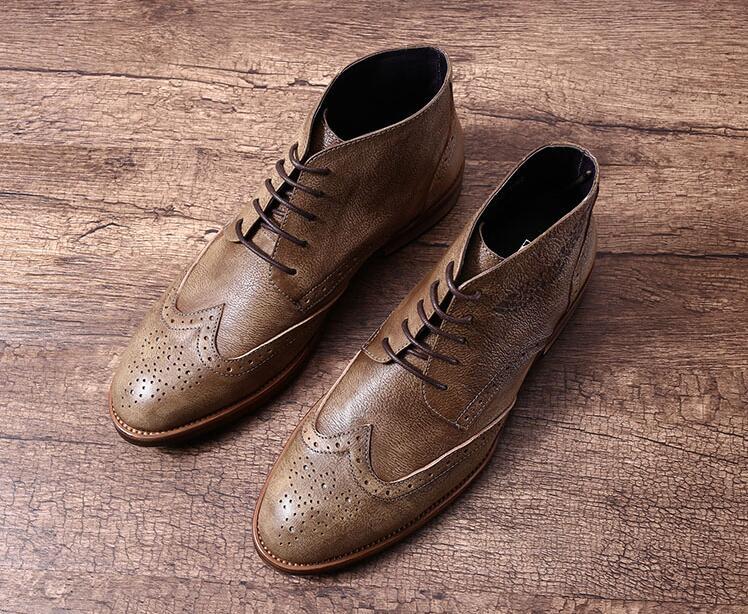 Lace Nova De Couro marrom Sapatos Homens Vestido Flats High Boots Top Esculpida Up Martin Dos Preto Genuíno Fino Ankle Chegada Sapatas Brogue Bico Casuais Botas rS7YnrA