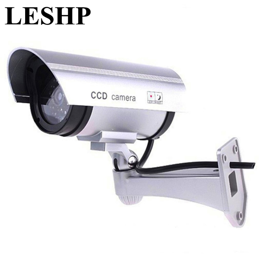LESHP CA-11 Monitor Security Guard Simulation Surveillance Bullet Camera Outdoor Indoor Dummy IR Camera with Red flashing light scare thieves simulation monitor camera