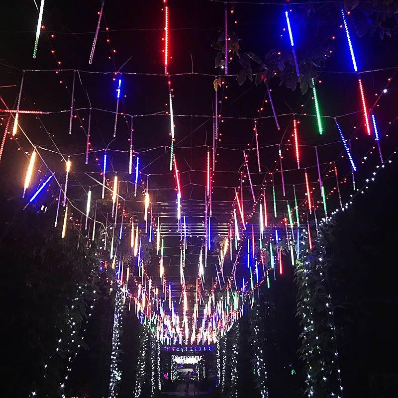 30cm 8 Tube Meteor Effect Glow Sticks 144 LED Light String Rain Snowfall Lights GHS99