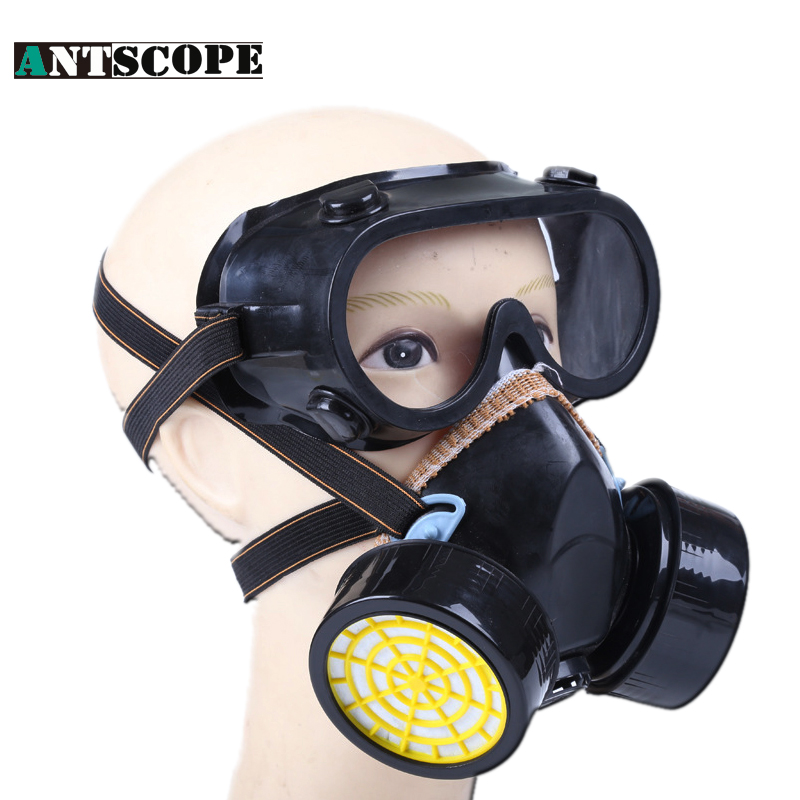 1PCS Anti-Dust Gas Mask + Goggles Chemical Gas Respirator Face Masks Filter Chemical Gas Protected Face Mask With Goggles Black new safurance protection filter dual gas mask chemical gas anti dust paint respirator face mask with goggles workplace safety