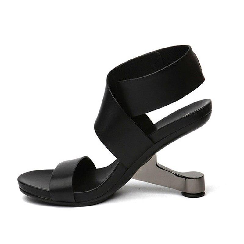 Baiser apricot Femmes Mouillé Cuir De Ouvert Été Chaussures Talon En 2019 Inhabituel Gladiateur Femme Mode Bout Sandales À Vache Noir rErdxHqw6