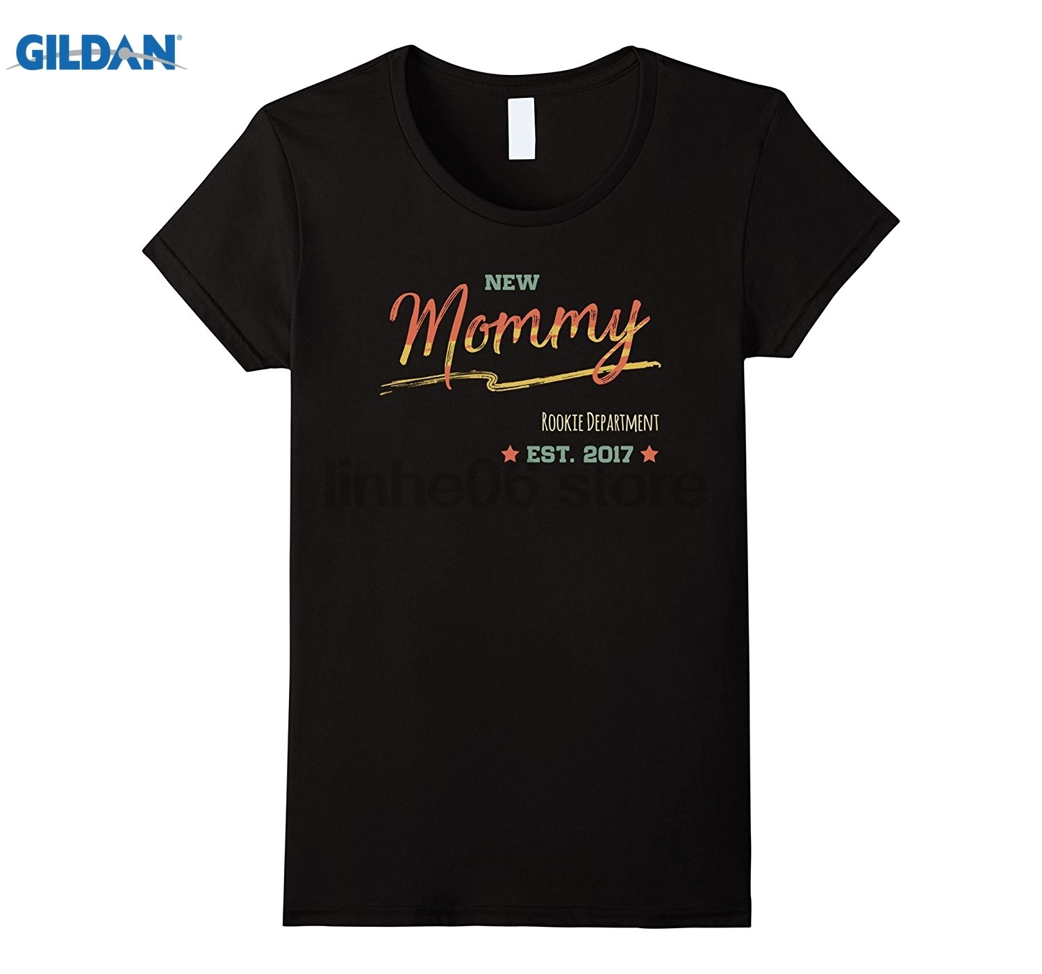 GILDAN Womens New Mommy Shirt. Mommy est 2017 Gifts Vintage Retro Art Mothers Day Ms. T-shirt