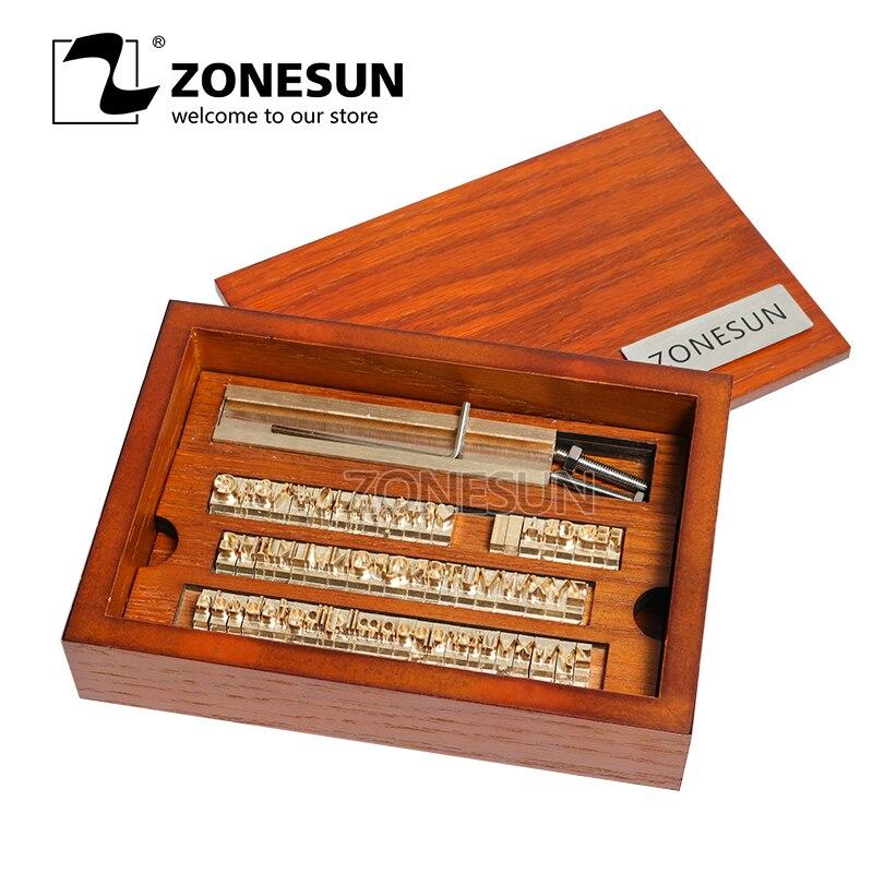 ZONESUN Logo personnalisé bricolage en métal lettre numéro symbole ensemble en cuir feuille chaude timbre envie outil marque fer gaufrage Machine moule