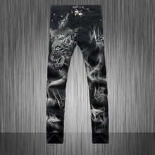 Original Brand Stained Jeans Men'S New Slim Nightclub Hairstylist Printing Flower White Pants Men Painting Trousers MB554 Z25
