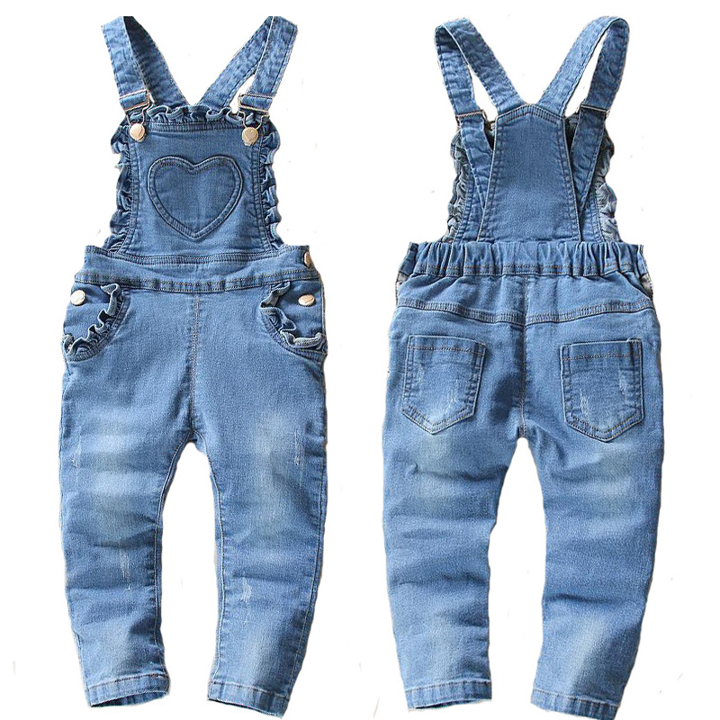 2017 new spring and autumn Baby girls denim bib pants infant jumpsuit lovely overalls for children girl roupas de bebe loose style autumn denim overalls for kids girls 2016 new style children girl blue jeans elegant jumpsuit female denim bib pants