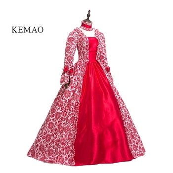Free shipp Hot Sale Victorian Rococo Costume Women's Adults' Dress  Vintage Cosplay Flocked Long Sleeves Bell Ankle Length