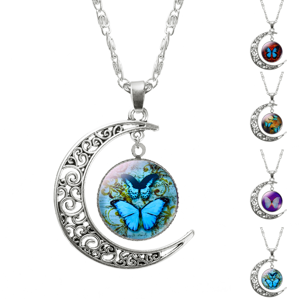Fashion Glass Moon Statement Necklace Vintage Silver Color Jewelry butterfly Pandent Necklace for Women 2016