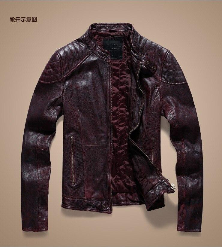 Brand Leather Jacket Men Slim Short Stand Collar Bomber men Jacket genuine Leather sheepskin Coat 2019 New Autumn winter