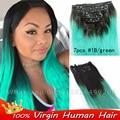 7 Шт./лот Ombre Бразильского виргинские клип в реальные человеческие наращивание волос афро-американской волосы прямые реми волос клипы