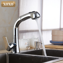 XOXO Free Shipping Brass Hot and Cold Water Mixer Pull out Kitchen Faucet 360 Degree Rotation Sink Tap 1251