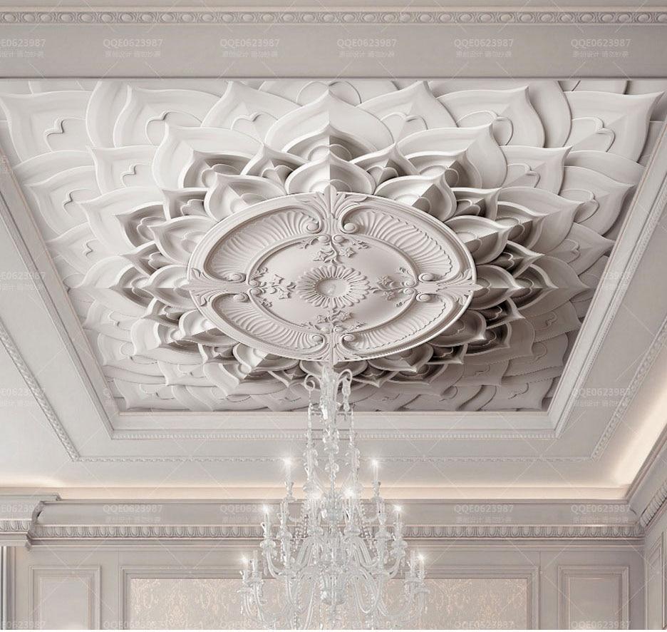 White Plaster 3d Ceiling Wallpaper For Hall Living Room 3D