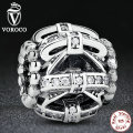 VOROCO Original 925 Sterling Silver Bow-knot Crystals Charm Fit Pandora Beads Bracelet Women DIY Jewelry Wedding Gift S250