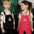 2017 kikikids бобо выбирает panda мальчики девочки полосой красный коричневый комбинезон nununu ребенка дети дети брюки