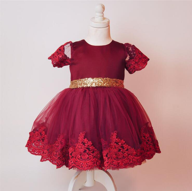 Hot Sale Baby Girl Lace Embroidery Gown Dress Sweet Girl Sequined