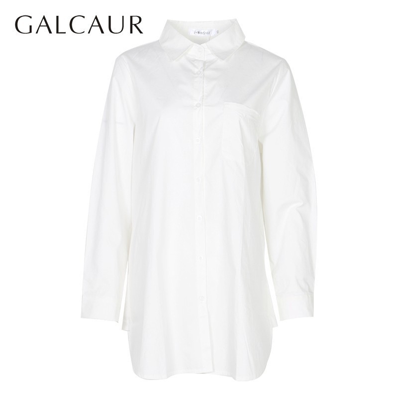 GALCAUR Casual Striped Shirt For Women Lapel Long Sleeve Loose Irregular Blouse Female Fashion Clothes 2020 Summer New Tide