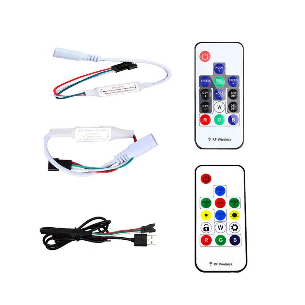Mini 14Key Wireless 2.4G RF Remote USB/DIR LED RGB Controller For SK6812 WS2812B 5V Magic Full Color Pixel LED Strip light