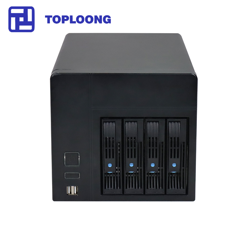 Home Storage Hot-swap NAS Storage Server Chassis  IPFS Miner 4 Drive Bays 6GB Sata Backplane Support Mini-itx Motherboard Black