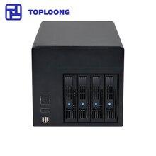 Almacenamiento para el hogar en oferta, Servidor NAS de intercambio, chasis IPFS Miner 4 unidades, bahías Celeron J1900, placa base 4GB RAM 16GB SSD 150W, fuente de alimentación