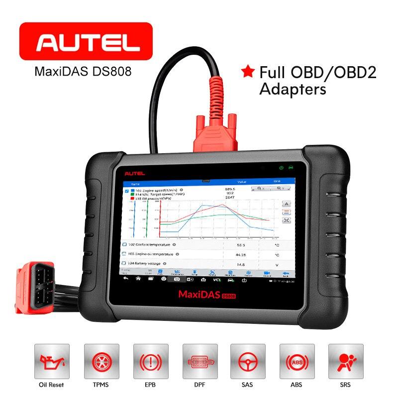 AUTEL MaxiDAS DS808 OBD2 Scanner Voiture Outil De Diagnostic Automobile Clé Fob Programmation ABS ECU Codage Code Lecteur PK MS906 DS708