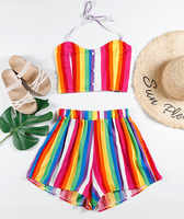 Sexy 2 Piece Set Women Rainbow Striped Vest Bandage Shorts Two-Piece Outfit Suits women summer plus size color beach causal