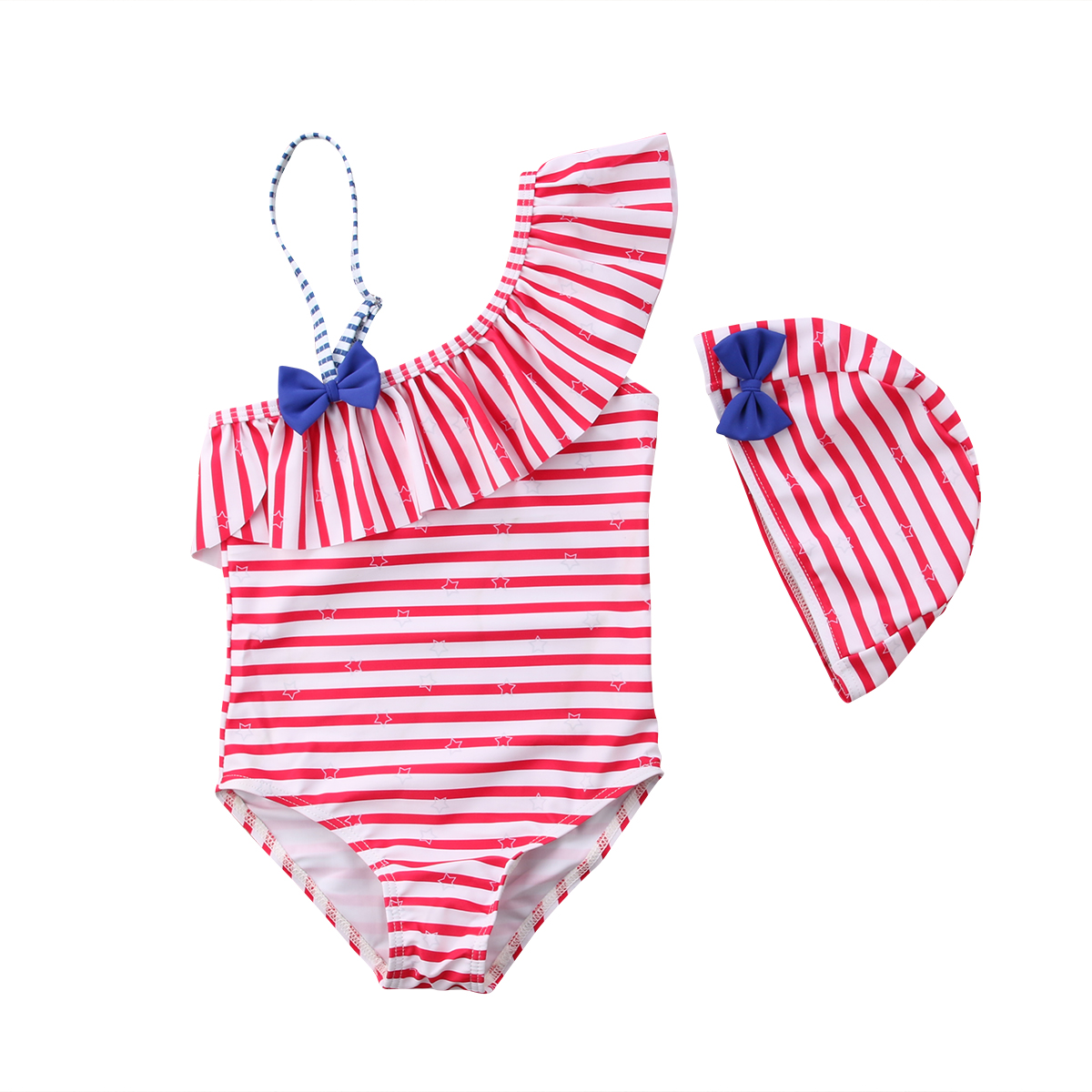 2018 NEW Girls Baby Red/Blue Striped Off Shoulder Bikini Swimsuit Swimming +Hat Tankini Bathing Suit Bathers Set 3-7T