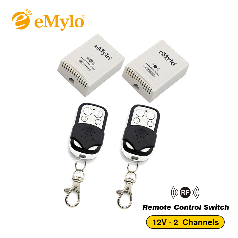 eMylo RF 12V Smart Switch Wireless Remote Control Light Switch 433Mhz 2X Black&White Transmitter 2X 2 Channels Relays Momentary