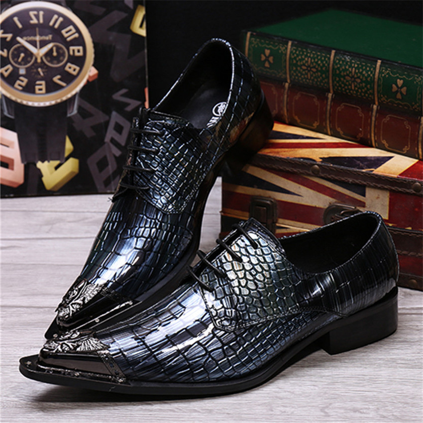 Fashion Blue Men Genuine Leather Shoes Iron Pointed Toe Mens Oxfords Wedding Dress Shoe Tie Up Zapatos Hombre Creepers men fashion oxfords pointed toe retro