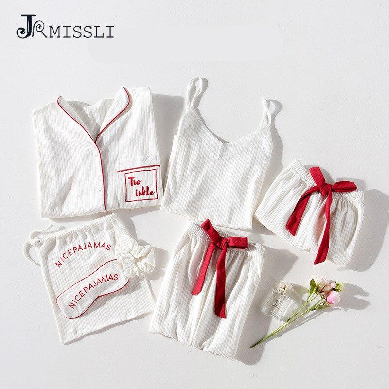 JRMISSLI Autumn 7 Pieces Set White 100 Cotton Women Pajamas Suits Long Sleeve Top Elastic Waist