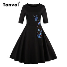 Tonval 3XL 4XL Plus Size Embroidery Dress Floral Half Sleeve Summer Elegant Black Dress Vintage Plus Size Women Sequins Dress